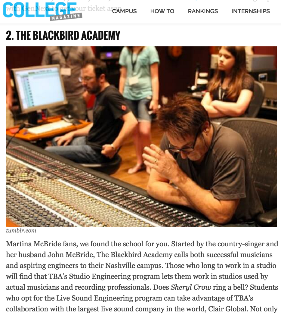 TBA is #2 in College Magazine's Top 10 Schools for Music Recording Technology & Audio Design